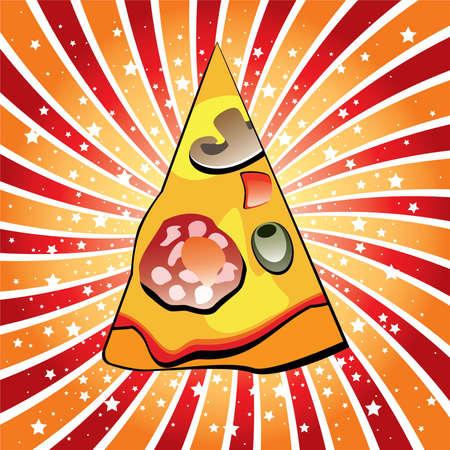 vector italian pizza slice on retro background Stock Vector - 9047287