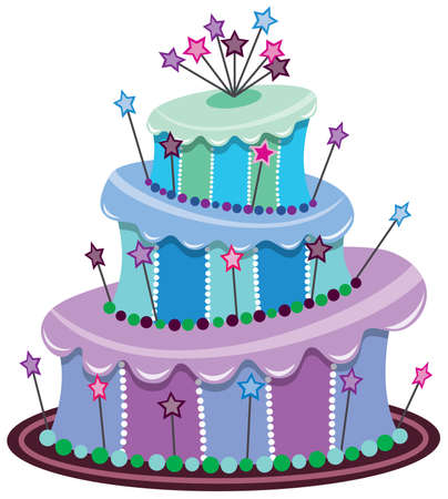 occasions: big birthday cake Illustration