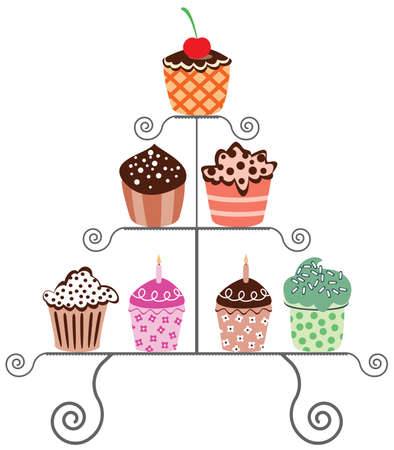 cupcake illustration: set of various cupcakes on a stand