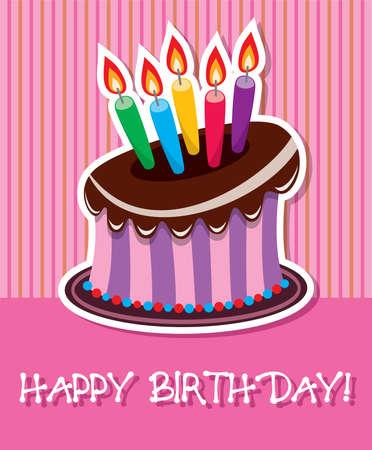 chocolate melt: torta di compleanno al cioccolato con candele accese Vettoriali