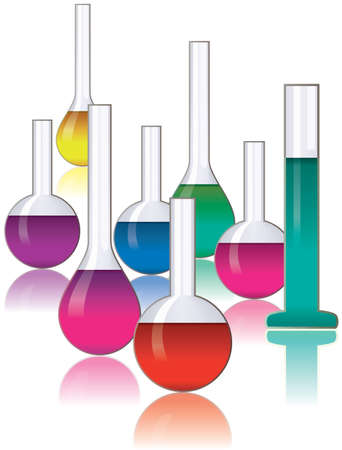 set of laboratory glassware Vector