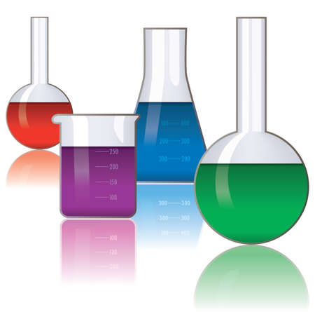 green chemistry: set of laboratory glassware