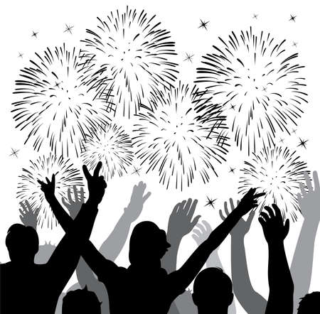 fireworks with silhouettes of happy people Vector