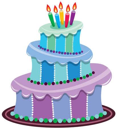 gateau anniversaire: gros g�teau avec les bougies allum�es
