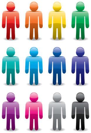 set of colorful man symbols Vector