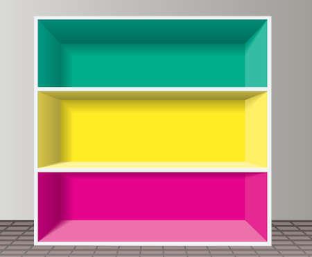 vector colorful empty bookshelf Stock Vector - 9206927