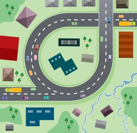 cruce de caminos: Ilustraci�n urbano de vector de coches en el camino