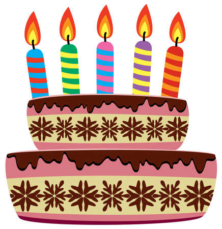 orange cake: vector birthday cake with burning candles