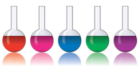 chemical equipment: vector set of colorful laboratory glassware