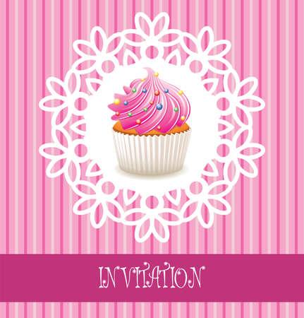 vector retro cupcake card Stock Vector - 9206930