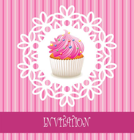 filling line: vector retro cupcake card