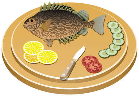 pesce cotto: pesce cucinato e verdure crude su una tavola