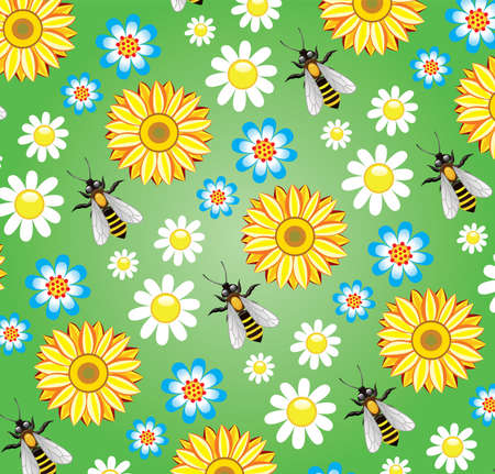 vector seamless background with bees and flowers  Vector