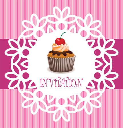 cremoso: tarjeta de vector retro cupcake