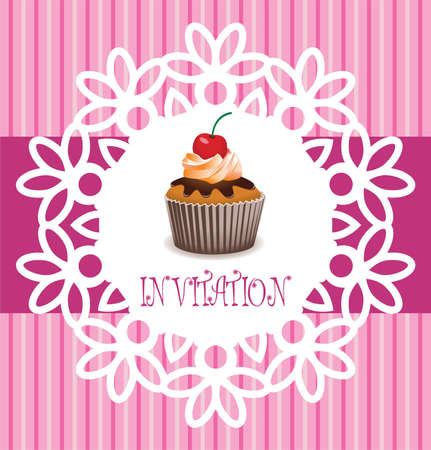 filling: vector retro cupcake card