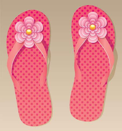 vector pair of flip flops with flowers  Stock Vector - 9259011