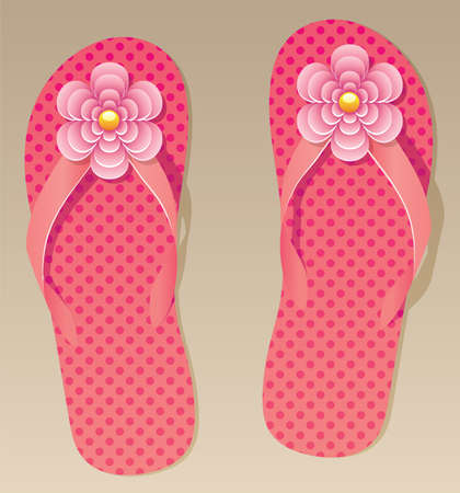 flop: vector pair of flip flops with flowers  Illustration