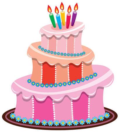torta panna: torta di compleanno grande vettore con candele accese Vettoriali