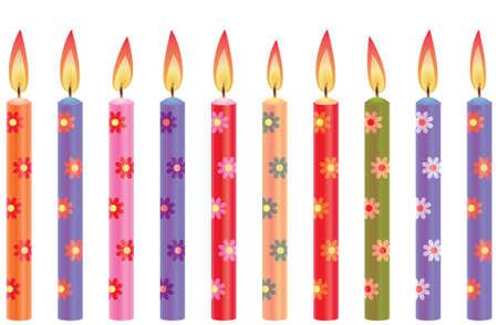 candeline compleanno: candele colorate compleanno con i fiori Vettoriali