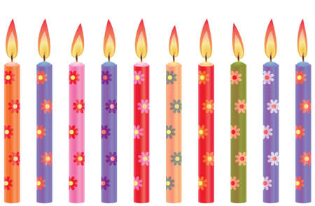 pink cake: colorful birthday candles with flowers Illustration