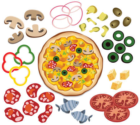 vector pizza and ingredients for your design Stock Vector - 9292576