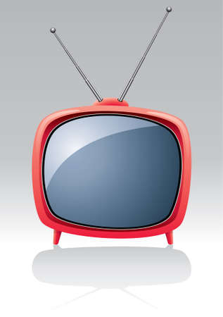 tv show: televisor retro vector rojo