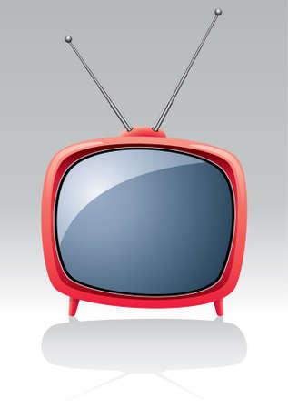 vector red retro tv set Stock Vector - 9292559