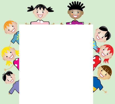 vector young children holding blank paper for your text Vector