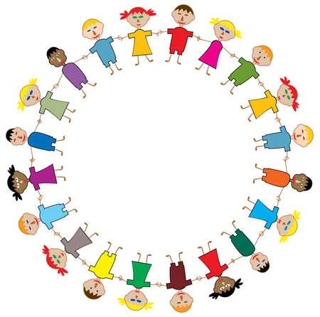 legs around: vector young children frame Illustration