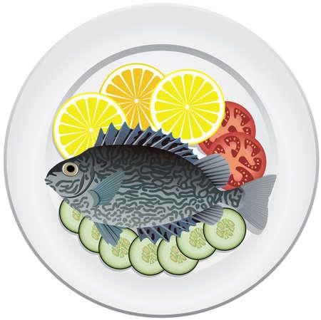 poisson cuit et des légumes crus sur une plaque