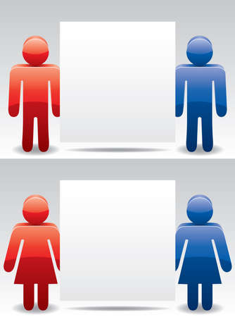 vector man and woman symbols holding blank paper for your text Vector
