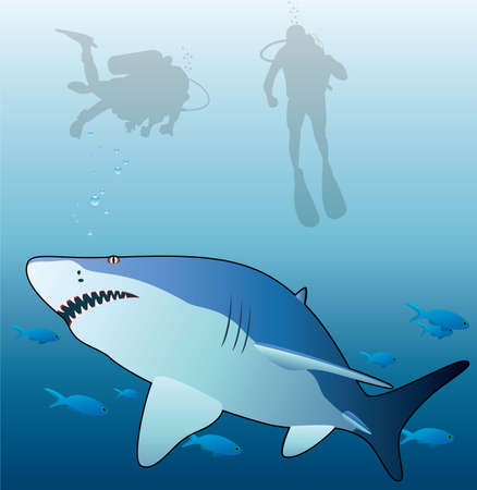 open sea: underwater vector of a shark, tropical fishes and scuba divers