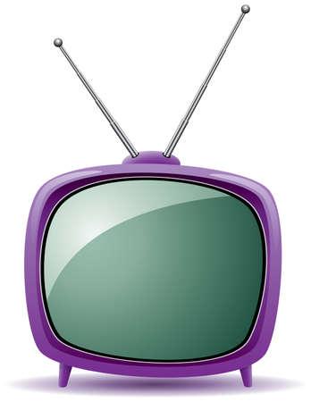 omroep: vector paarse retro tv set  Stock Illustratie