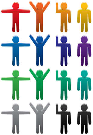 mucha gente: conjunto de s�mbolos de hombre colorido en varias poses Vectores