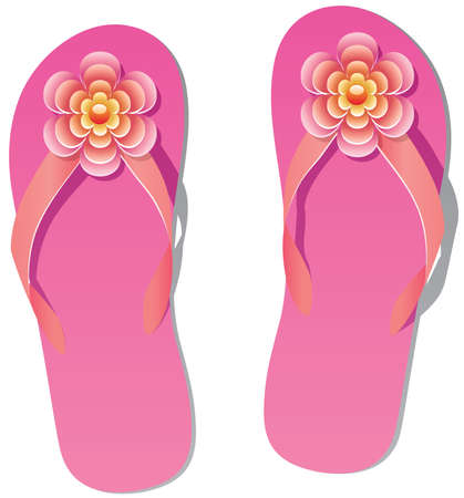 pair of flip flops with flowers Stock Vector - 9359075