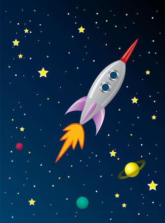 porthole: stylized retro rocket ship in space