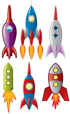 cohetes: conjunto de espacio estilizada retro de cohete de buques Vectores