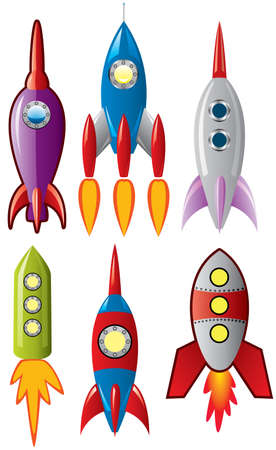 set of stylized space retro rocket ships Vector
