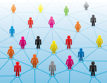 human relations: symbols of men and women forming business network