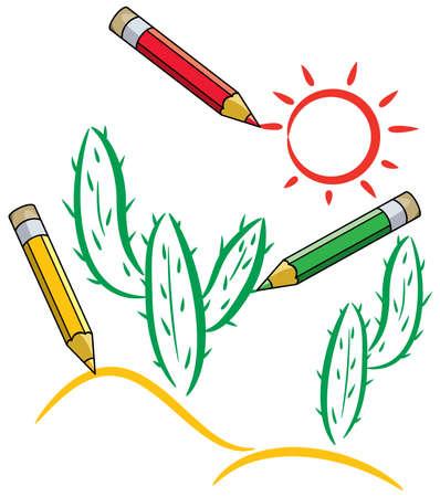 pencils draw cactus and sun in desert Vector