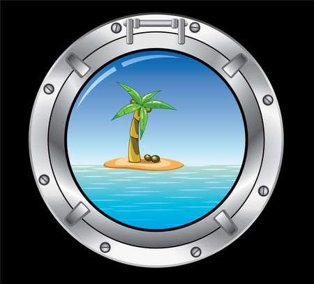 ventana ojo de buey: concepto de metal �rbol Portilla y Palma de viajes en la isla