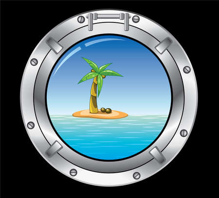cartoon submarine: travel concept of metal porthole and palm tree on the island Illustration