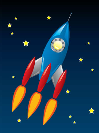 stylized retro rocket ship in space Stock Vector - 9359073