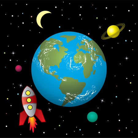 blue planet: stylized retro rocket ship in space