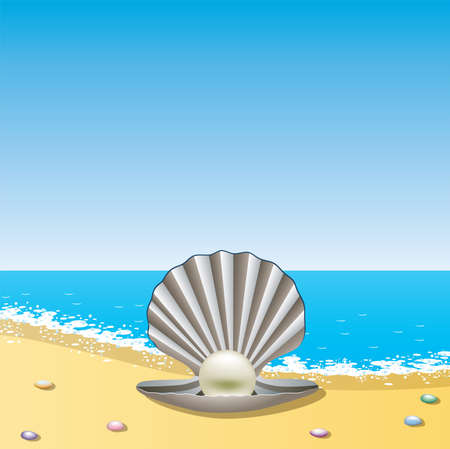 opened sea shell with pearl on the sea shore Stock Vector - 9359107