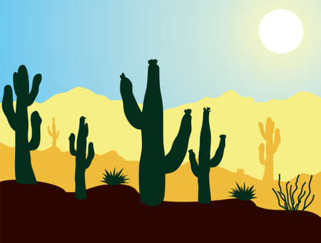 vector cactus plants and mountains in desert at cloudless sunrise Stock Vector - 9405977