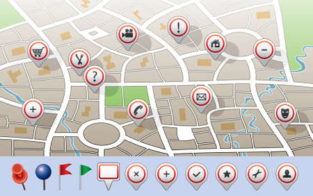 question icon: vector city map with GPS icons Illustration