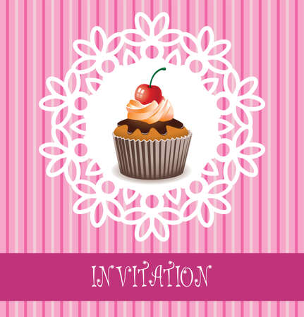 bake: vector retro invitation card with chocolate cupcake and a cherry Illustration