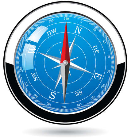 dial compass: vector metal compass