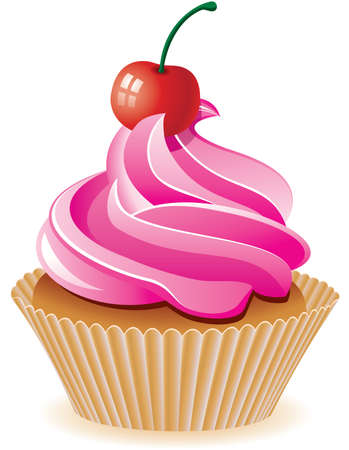 cupcake illustration: vector pink cupcake with cherry